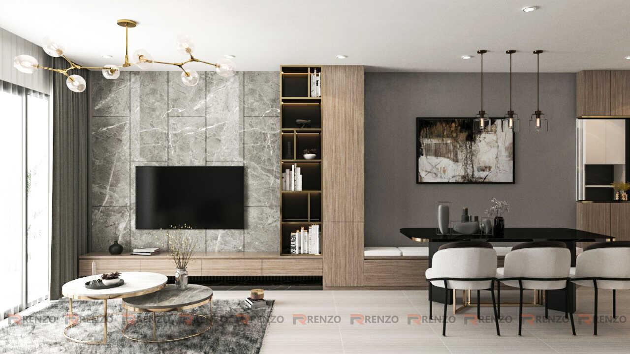 Mẫu thiết kế nội thất phòng khách 3PN căn hộ Vinhomes Ocean Park