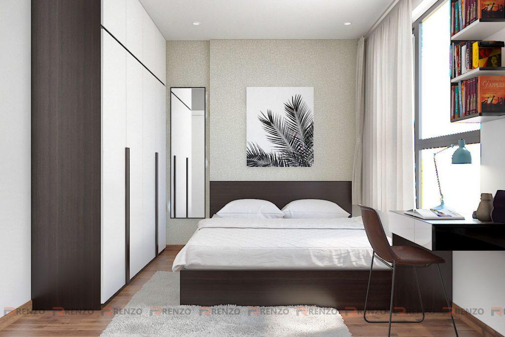phòng ngủ tone đen trắng